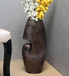 Brown Ceramic Abstract Swirl Large Vase