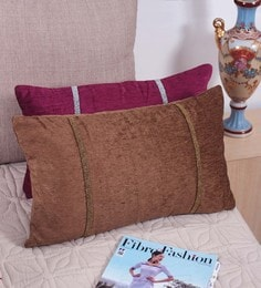 Brown Fabric 12 X 20 Inch Cushion Cover