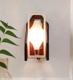 Brown Glass And Wood Wall Mounted - 1644508