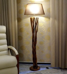 Brown Jute Floor Lamp