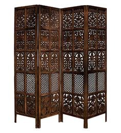 Brown MDF Floriferous 4 Panel Handcrafted Partition Screen