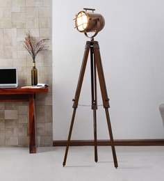 Brown Metal Floor Tripod Lamp - 1711241