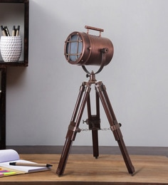 Brown Metal Table Tripod Lamp