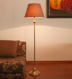 Brown Mild Steel Antique Floor Lamp - 1728312