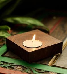 Brown Sheesham Wood Cuboidal Table Tea Light Holder