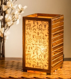 Brown Teak Wood Table Lamp