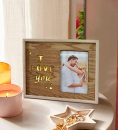 c83e4f3ab9f Brown Wood   Mdf I Love You Alphabets Square Photo Frame With Stand And Led  Light