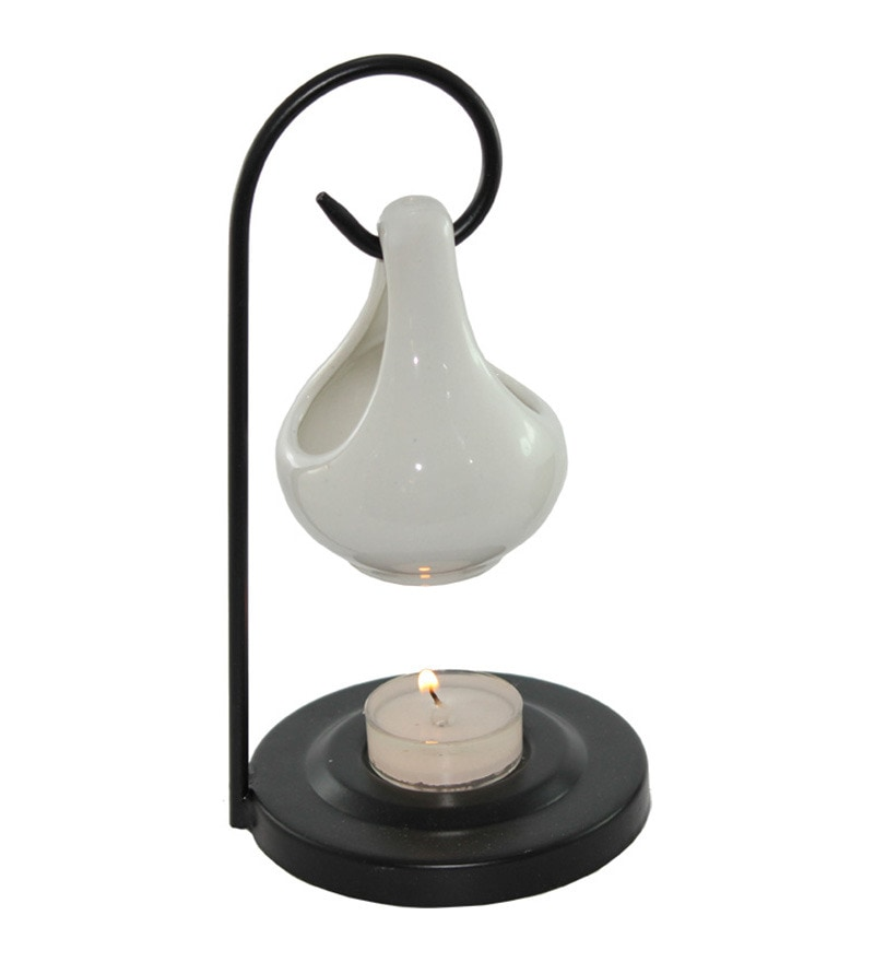 White Aroma Oil Burner Hanging Pot by Brahmz