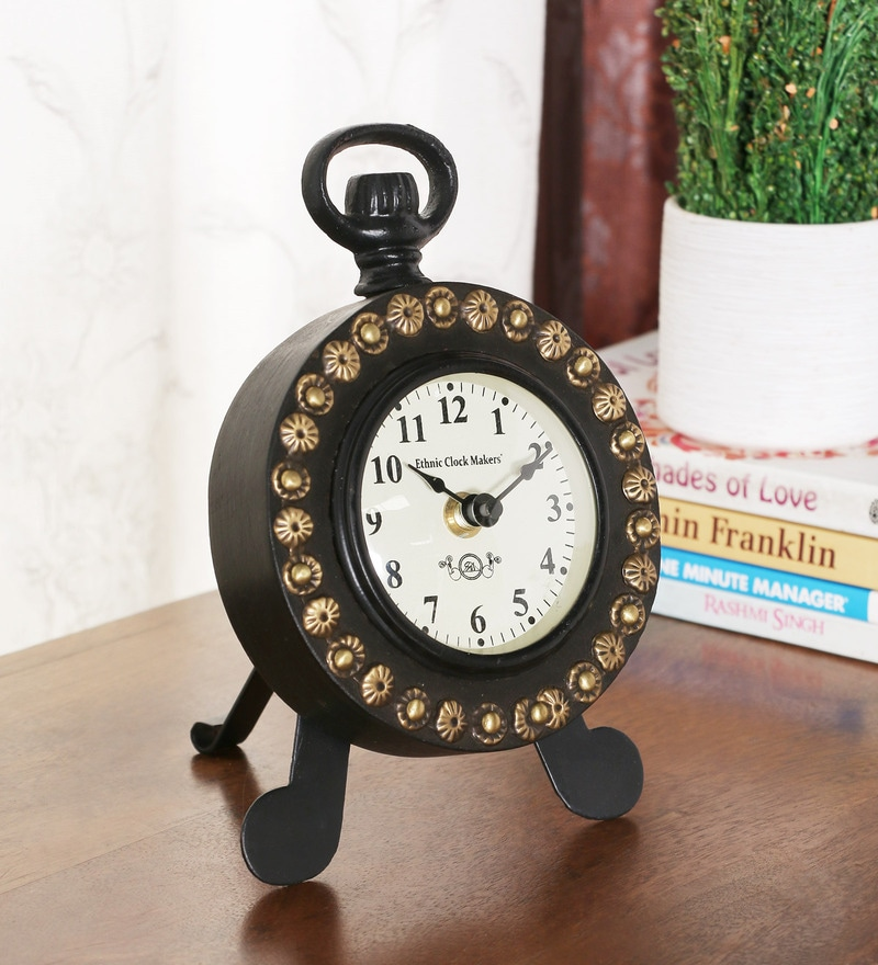 Wenge Metal Vintage Desk Clock by Ethnic Clock Makers
