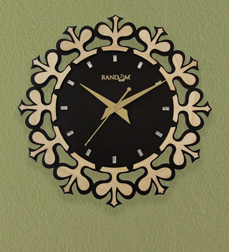 Brown & Beige Wood 11.5 x 2 x 11.5 Inch Supreme Wall Clock by Random
