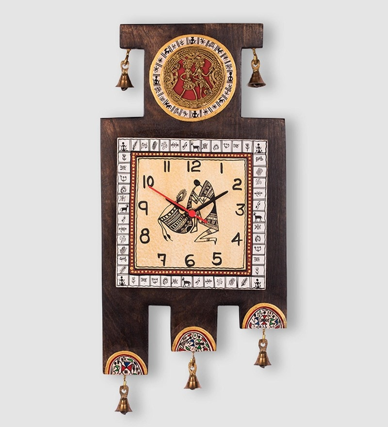 Brown & Gold Recycled Wood and Brass Warli Handpainted Wall Clock by ExclusiveLane
