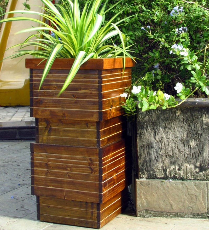 Brown & Olive Green Handmade Tall Box Wooden Planter by Point of Hue