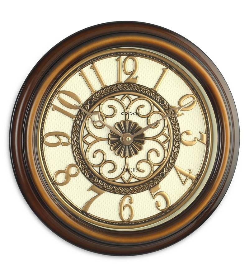 Brown ABS 16 x 2.3 x 16 Inch Antique Look Wall Clock by Opal