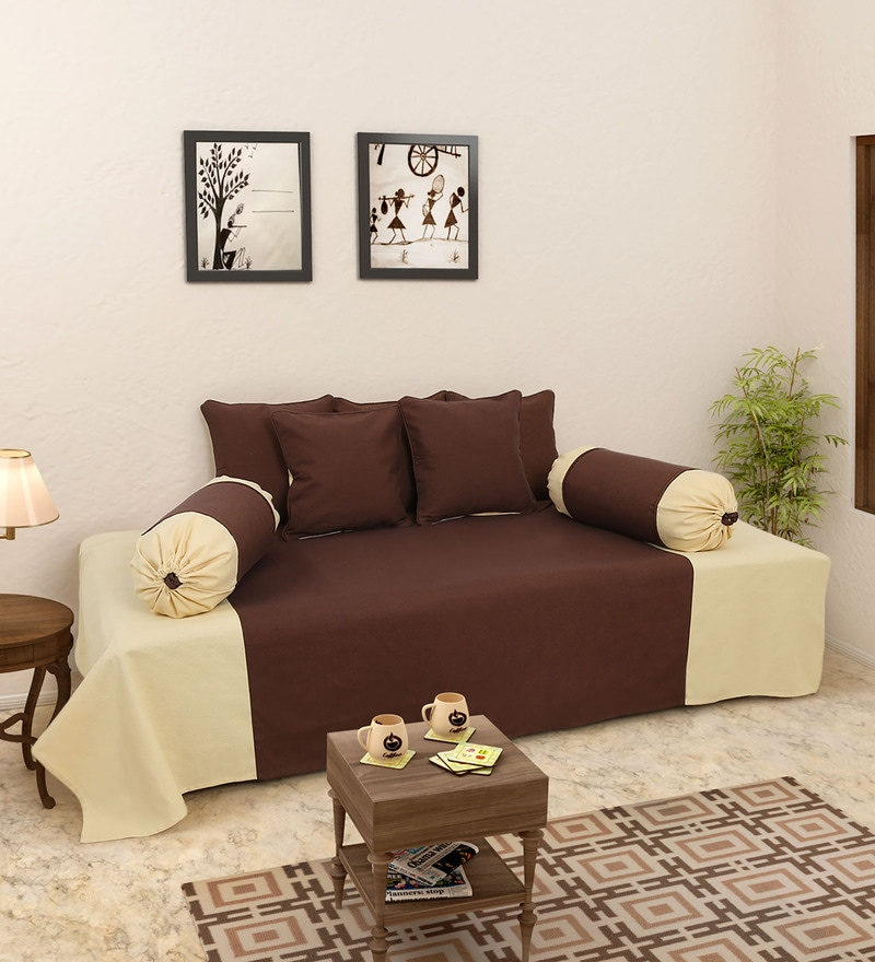 Brown and Cream 100% Cotton Diwan Set - Set of 8 by Soumya