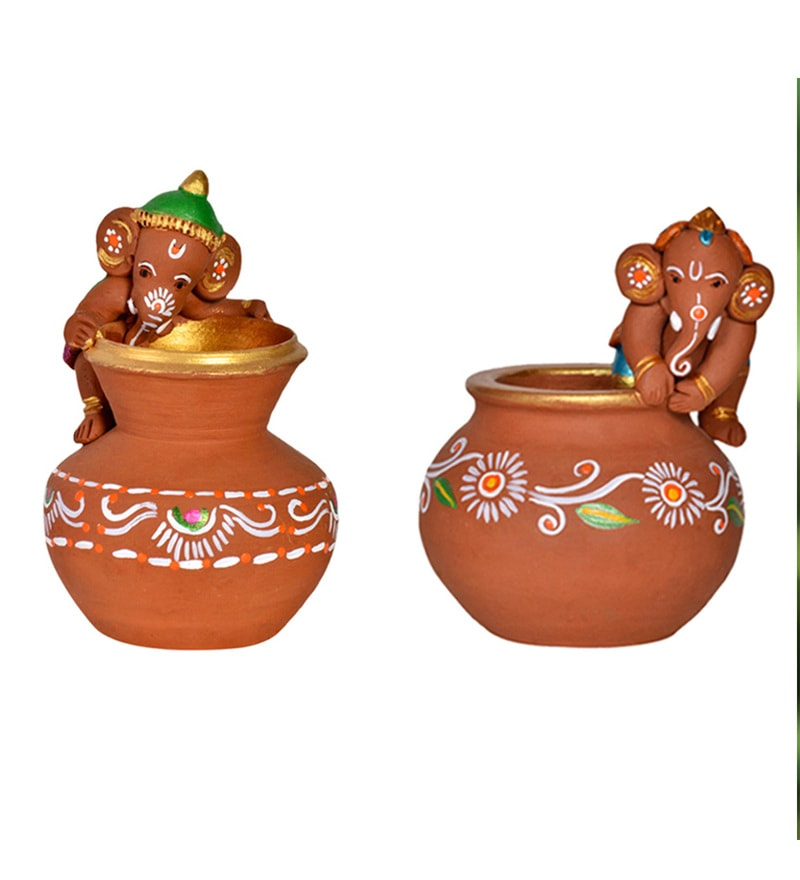 Brown and Terracotta Terracotta Combo Of Handpainted Baby Ganeshas Vase - Set of 2 by ExclusiveLane
