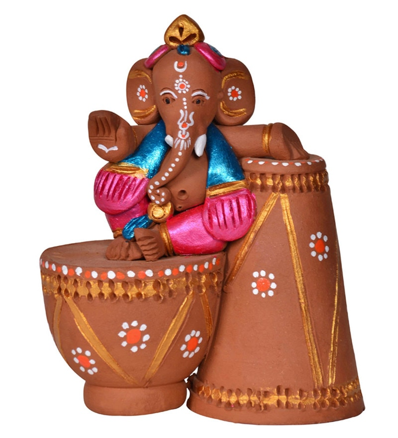 Brown and Terracotta Terracotta Handpainted Tabla Sitting Ganesha Idol by ExclusiveLane