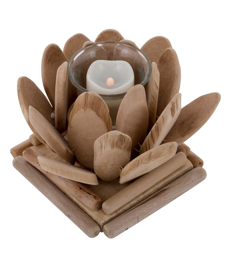 Brown Artifical Wood & Glass Bloom Tea light holders by MICASA
