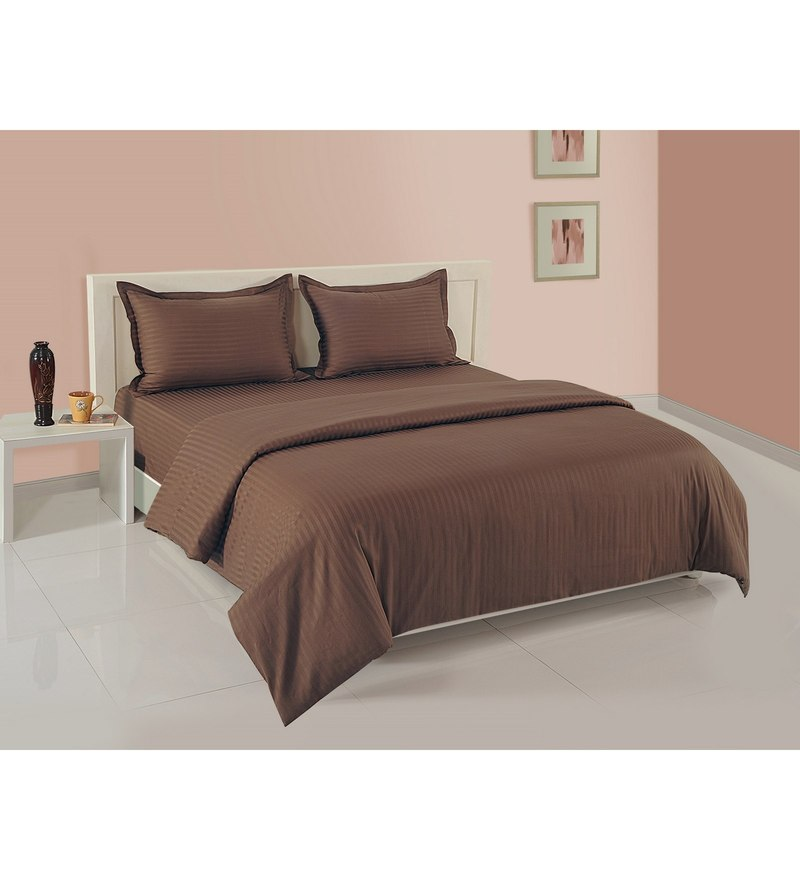 Brown Cotton King Size Bedding Set - Set of 4 by Swayam