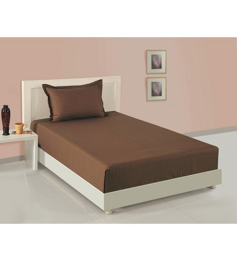 Brown Cotton Single Size Bedsheet - Set of 2 by Swayam