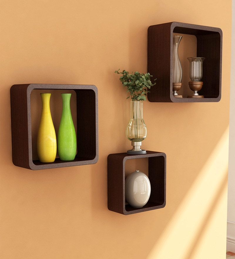 Brown Engineered Wood Cube Shelves - Set of 3 by Home Sparkle