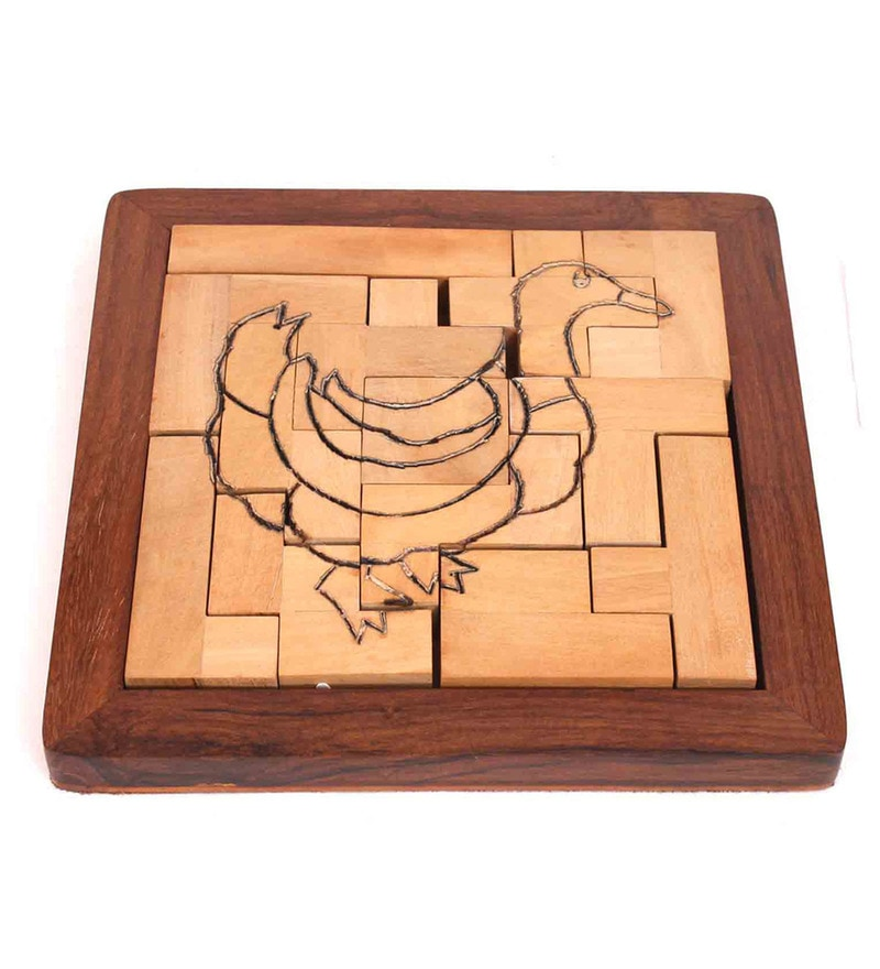 Brown Hard Wood Duck 13 Part Puzzle Game By Home Sparkle