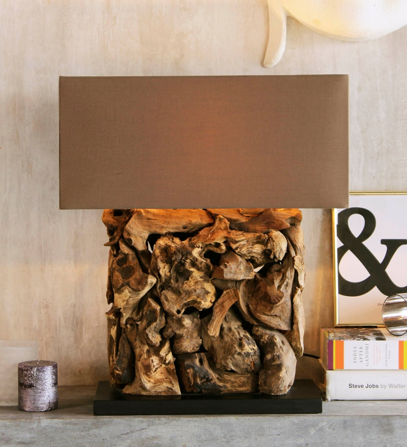 Brown Linen Recta Rooterie Natural Finish Table Lamp by Jainsons Emporio