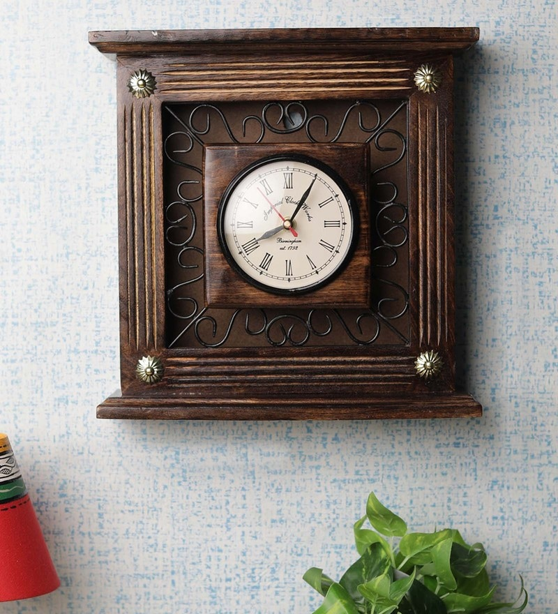 Brown Mango Wood Box Clock by VarEesha
