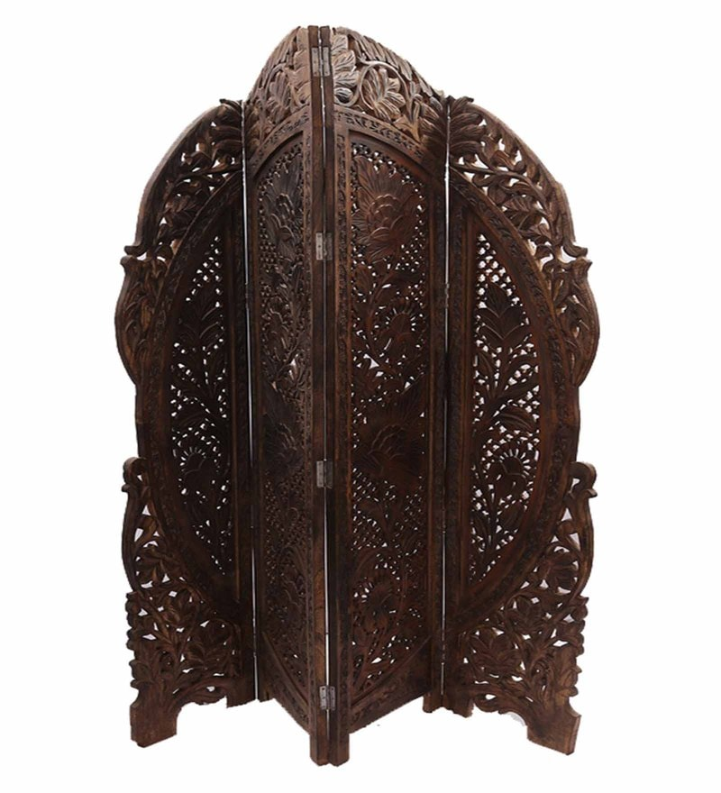 Brown Mango Wood Handcrafted Partition Screen by Aarsun Woods