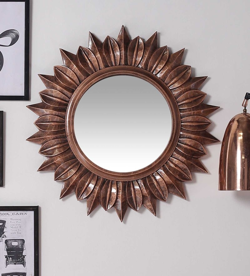 Brown MDF Diamond Look Wall Mirror by ShriNath