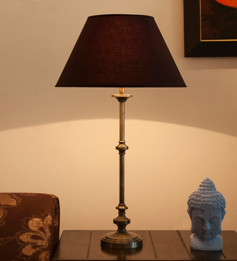 Brown Mild Steel Antique Table Lamp - 1728315