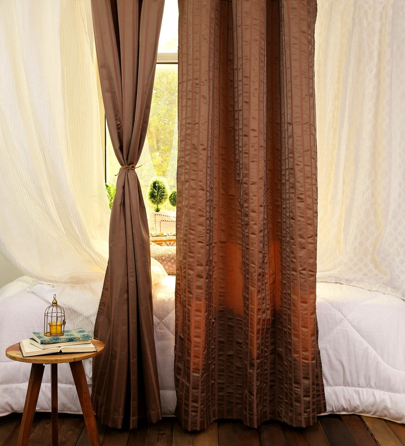 Brown Polyester 48 x 86 Inch Jacquard Curtains - Set of 2 by Turkish Bath