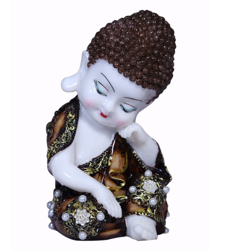 Brown Polyresin Laughing Buddha Idols By Forever