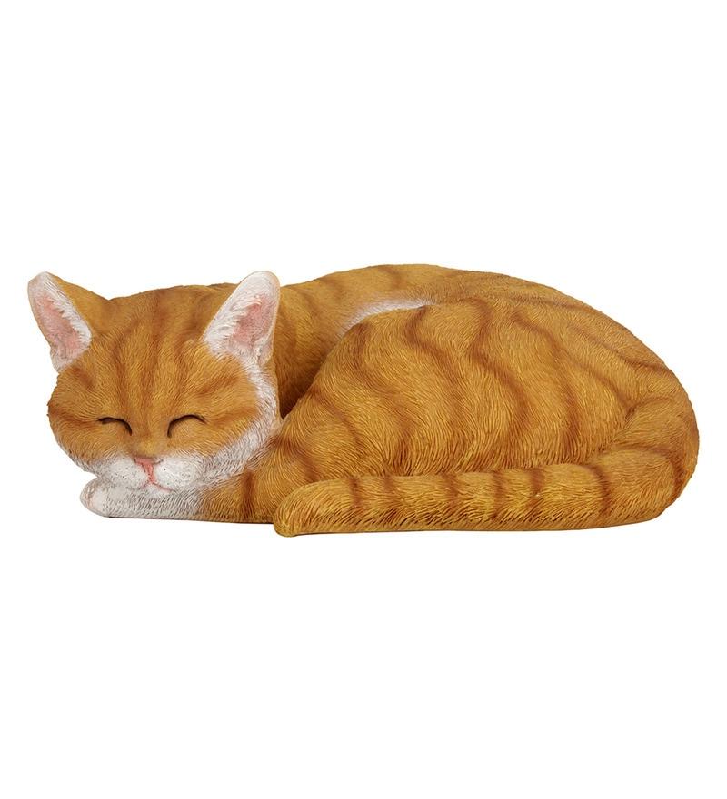 Brown Resin Sleeping Cat Garden Decor By Wonderland