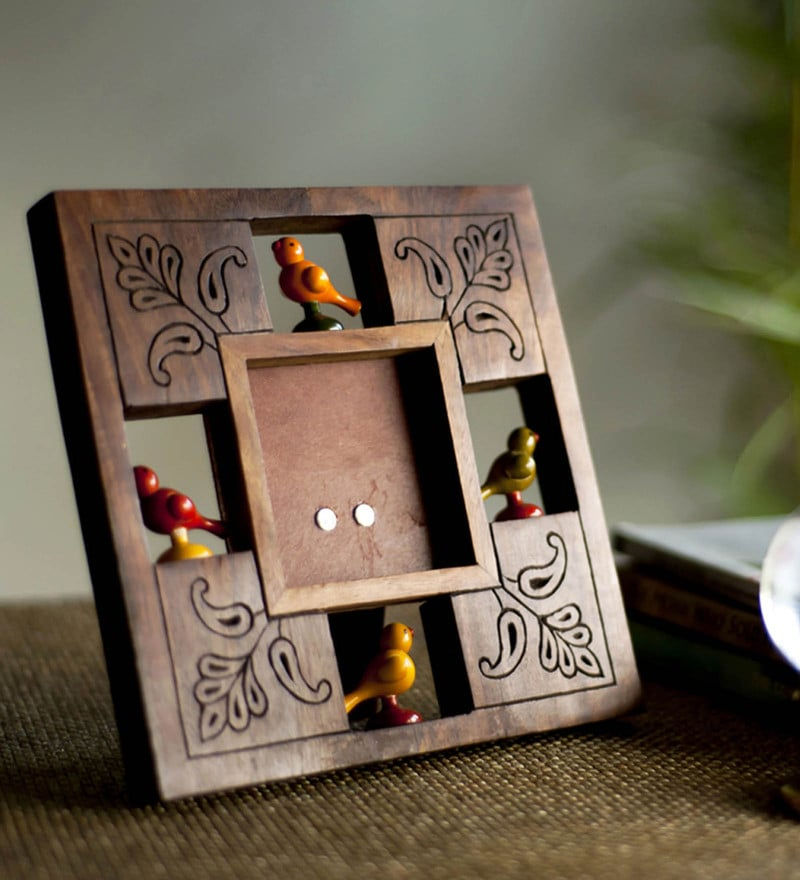 Brown Sheesham Wood Parrot Photo Frame With Hand Carving by ExclusiveLane