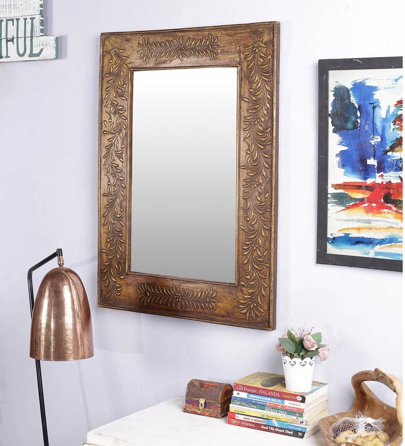 Brown Solid Wood Rajputana Jodhpuri Mirror by Art of Jodhpur