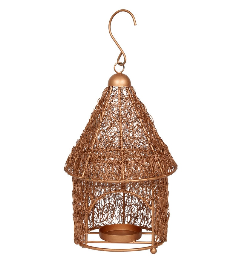 Brown Steel Handwoven Hut Shaped Tea Light Holder by GAC Trend