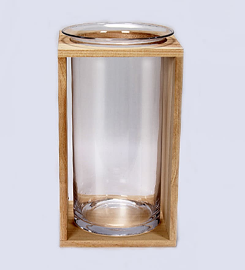 Brown Wood & Glass Bell Jar with Case by V Decor