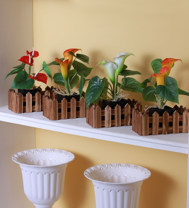 Brown Wood Pots by Fourwalls - Set of 4