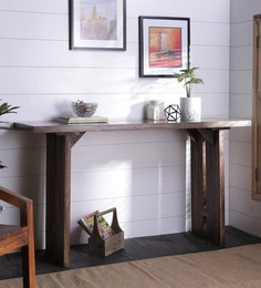 Butterfly Joinery Console Table In Brown Finish