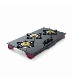 Butterfly Pink Toughened Glass Spectra 3 Burner Glass Top LPG Gas Stove