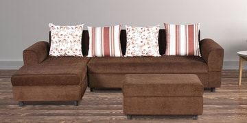 Burlington RHS Three Seater Sofa with Lounger & Pouffe in Coffee Colour by Cloud 9 at pepperfry
