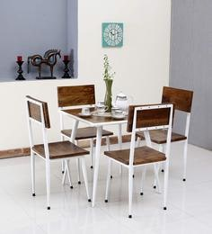 Cafelectic Table Set With 4 Chairs In Provincial Teak & White Frame