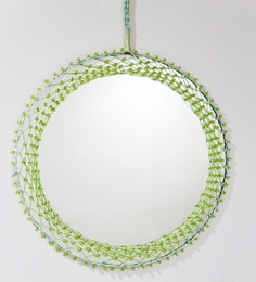Camila Hand Crafted Round Wall Mirror With Green Beads