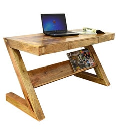 Caracas Study Table In Natural Mango Wood Finish By Woodsworth