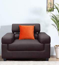 Carelino One Seater Sofa with Headrest in Dark Brown Colour by Vittoria at pepperfry