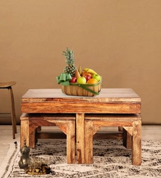 Cato Solid Wood Coffee Table With Four Stools In Honey Finish