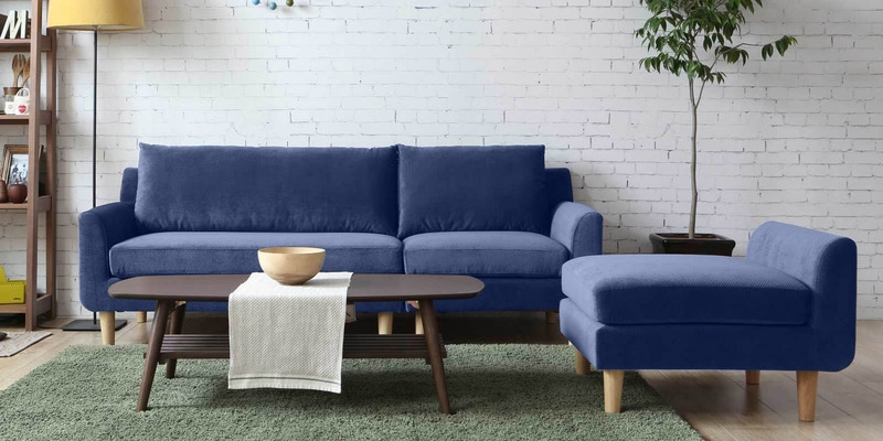 Calgary Three Seater Sofa with Lounger in Blue Colour by CasaCraft