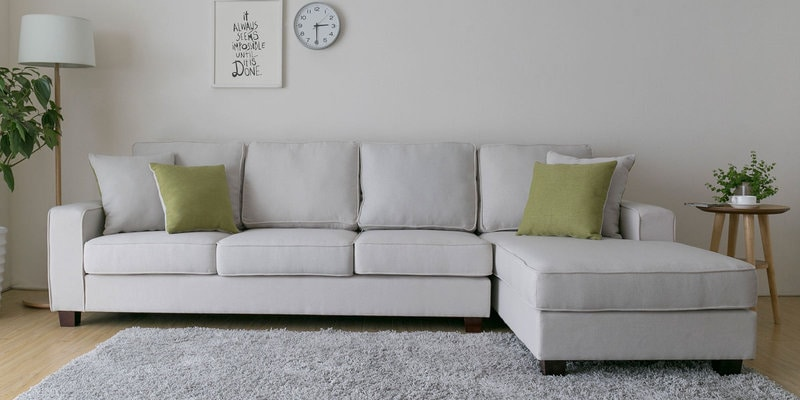 Castilla LHS Three Seater Sofa with Lounger and Throw Cushions in Beige Colour by CasaCraft