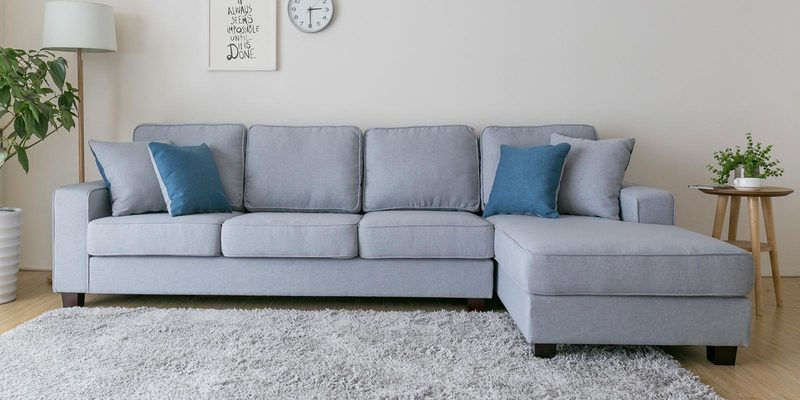 Castilla LHS Three Seater Sofa with Lounger and Throw Cushions in Chrome Grey Colour by CasaCraft