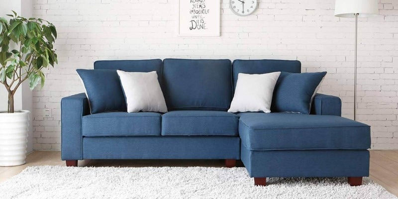 Castilla LHS Two Seater Sofa with Lounger and Throw Cushions in Navy Blue Colour by CasaCraft
